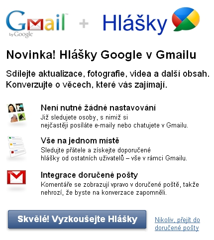 Uvítání Google Buzz