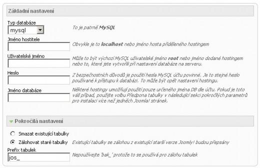 Nastavení databáze - instalace Joomla!