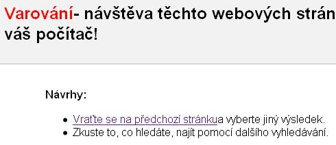 Google - oznámení o nebezpečné stránce