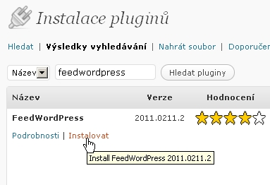 Instalace FeedWordPress