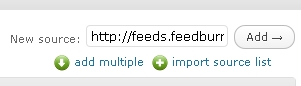 Přidání RSS zdroje