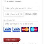Kredit O2 lze dobíjet online platební kartou