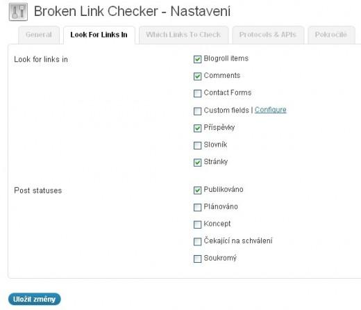Nastavení Broken Link Checker - typy obsahu