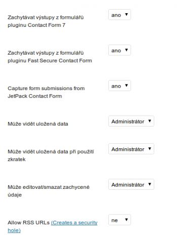 Část nastavení Contact Form DB