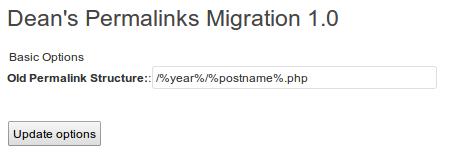 Nastavení Dean's Permalinks Migration