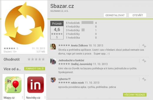 Hodnocení aplikace Sbazar.cz na Google play