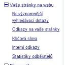 Menu Google Nástroje pro webmastery