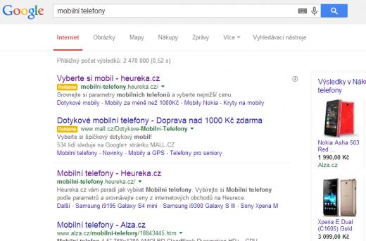 Výsledky hledání Google
