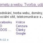 Google Sitelink: 8 až 12 vnořených odkazů