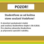 Studentfone končí, stane se součástí Vodafone
