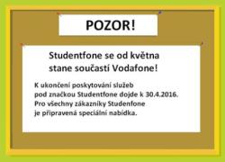 Oznámení na webu Studentfone