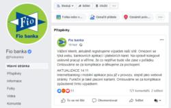 Oznámení o výpadku na Facebooku